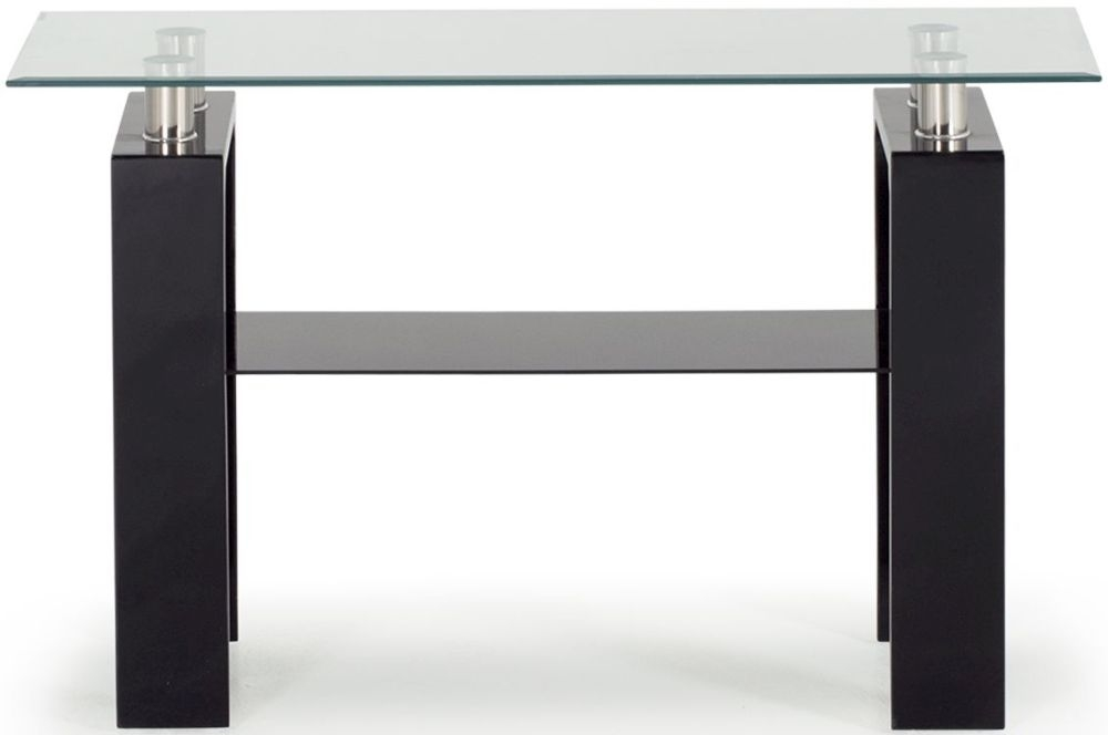 Vida Living Calico Glass Top Black Console Table