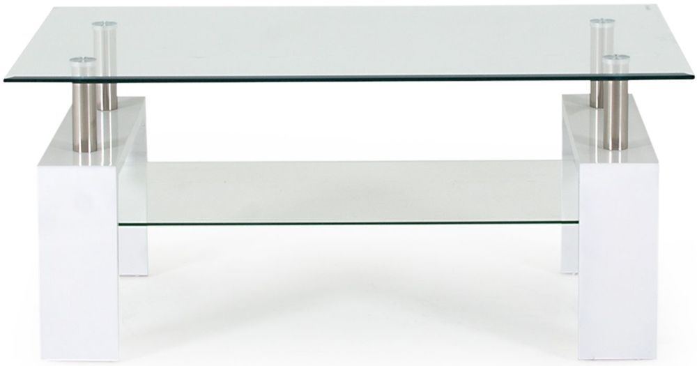 Buy Vida Living Calico Glass Top White Coffee Table Online Cfs Uk