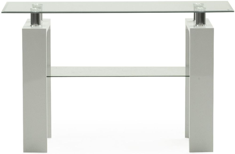 Vida Living Calico Glass Top White Console Table