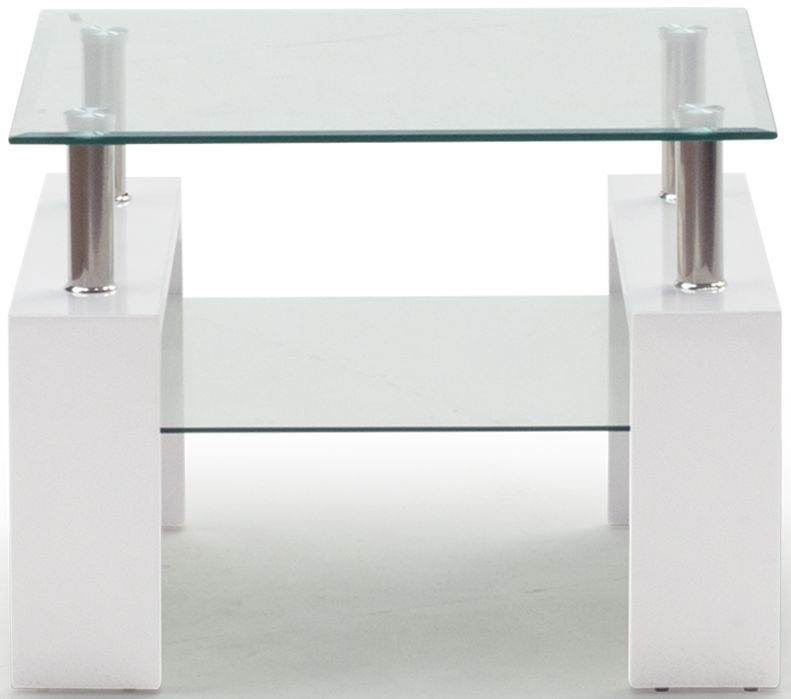 Vida Living Calico Glass Top White End Table