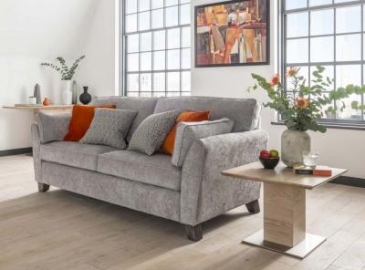 Vida Living Cantrell Silver Fabric 3 Seater Sofa