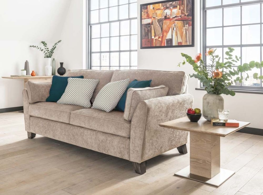 Vida Living Cantrell Almond Fabric 3 Seater Sofa