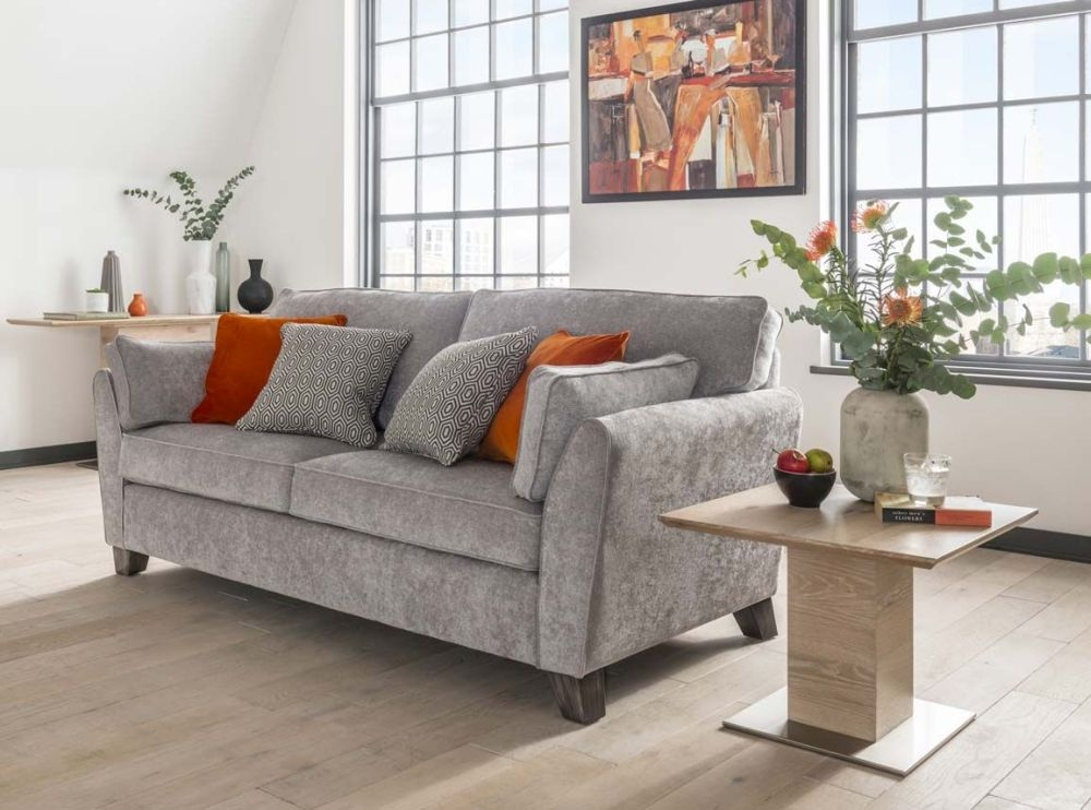 Vida Living Cantrell Silver Fabric 3 Seater Sofa