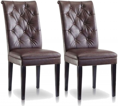 Vida Living Caprice Faux Leather Dining Chair - Antique Brown with Wenge Leg (Pair)