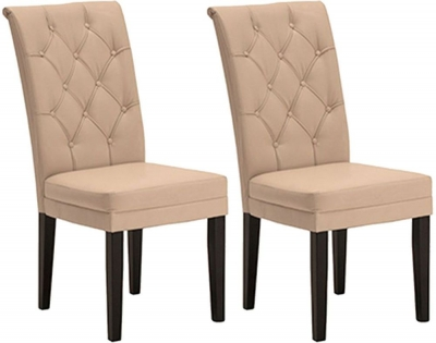 Vida Living Caprice Faux Leather Dining Chair - Ivory with Wenge Leg (Pair)