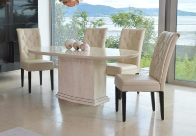 Vida Living Caprice Marble Dining Set - Oval with 4 Ivory Faux Leather Chairs