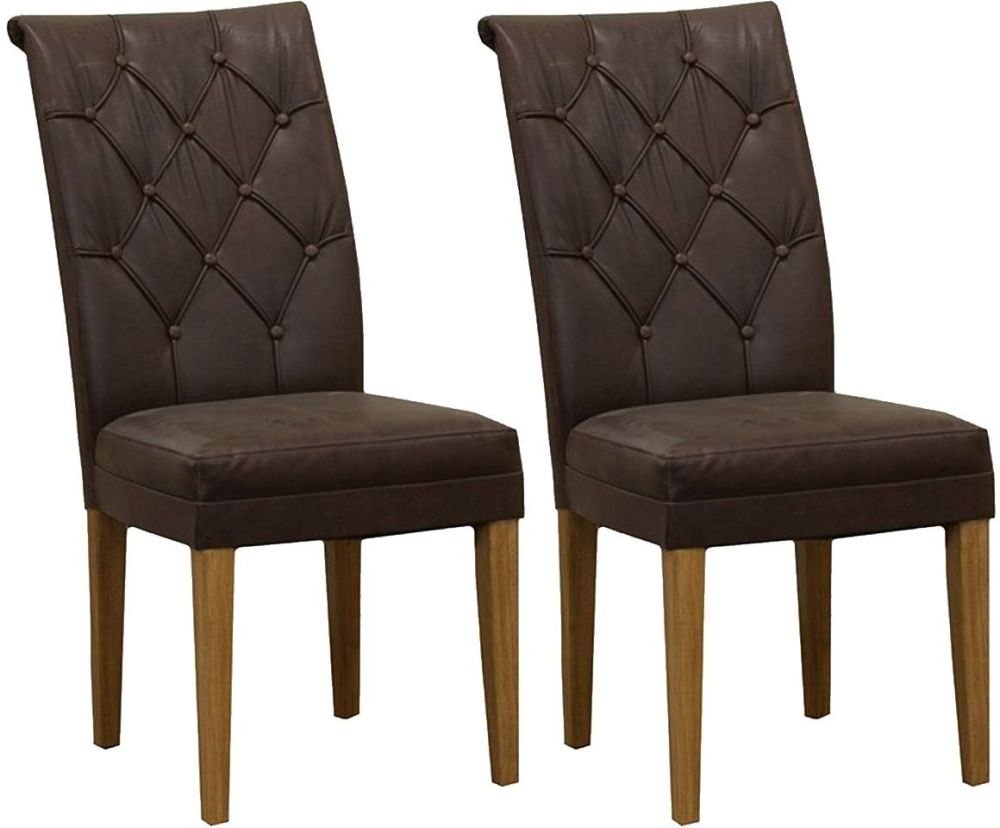 Vida Living Caprice Faux Leather Dining Chair - Antique Brown with Oak Leg (Pair)