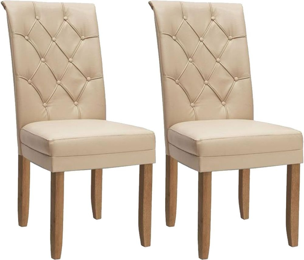 Vida Living Caprice Faux Leather Dining Chair - Ivory with Oak Leg (Pair)