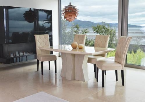 Vida Living Caprice Marble Dining Set - Rectangular with 4 Ivory Faux Leather Chairs