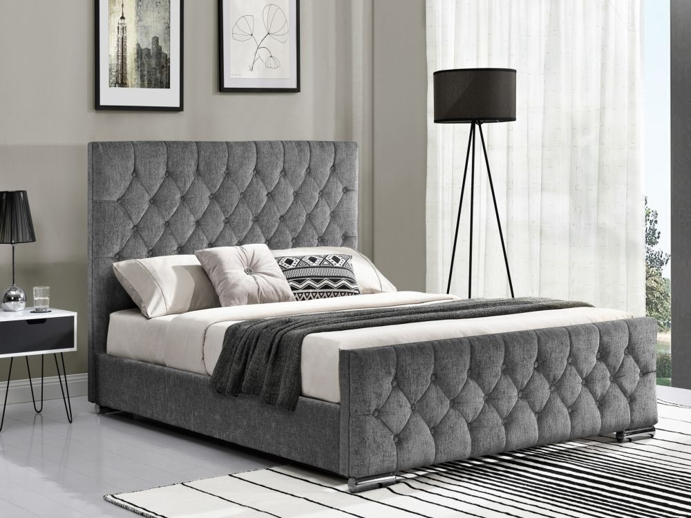 Vida Living Carina Silver Fabric Bed