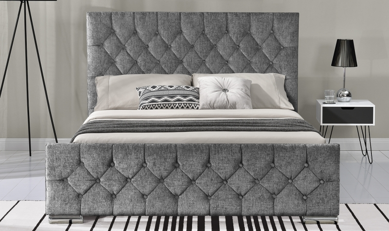 Vida Living Carina Silver Fabric Bed