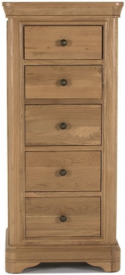 Vida Living Carmen Oak Chest of Drawer - 5 Drawer Tall