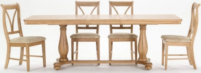 Vida Living Carmen Oak Extending Dining Table and 4 Chairs