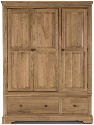 Vida Living Carmen Oak Wardrobe - 3 Door 2 Drawer