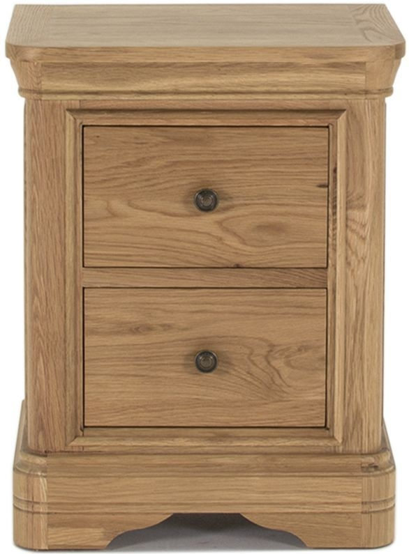 Vida Living Carmen Oak 2 Drawer Bedside Cabinet
