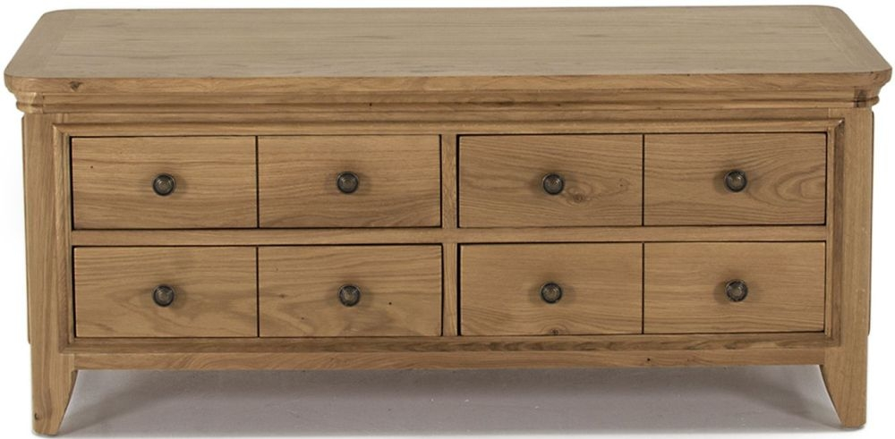 Vida Living Carmen Oak 4 Drawer Storage Coffee Table