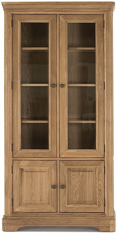 Vida Living Carmen Oak 4 Door Display Cabinet