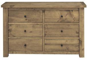 Vida Living Carolina Pine Dresser - 6 Drawer