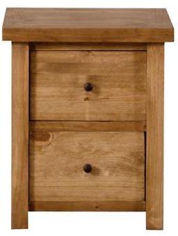 Vida Living Carolina Pine Bedside Cabinet - 2 Drawer