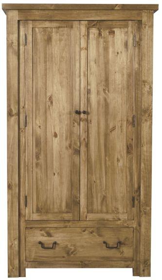 Vida Living Carolina Pine Wardrobe - 2 Door 1 Drawer