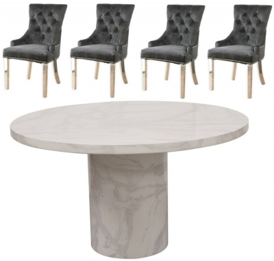 Buy Vida Living Carra Bone White Marble 130cm Dining Table with 2 Black Knockerback Chrome Leg Chairs and Get 2 Extra Chairs Worth £398 For FREE