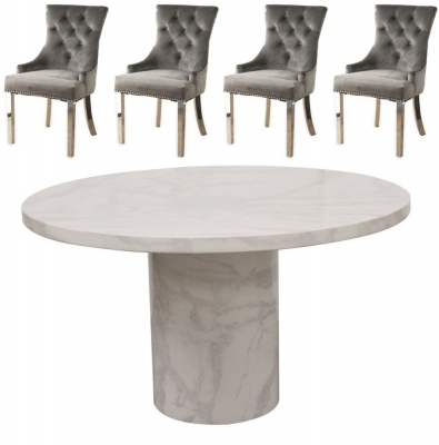 Vida Living Carra 130cm Bone White Marble Dining Table and 4 Grey Knockerback Chrome Leg Chairs