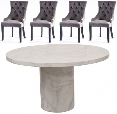 Vida Living Carra 130cm Bone White Marble Dining Table and 4 Grey Knockerback Chairs