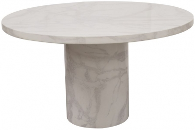 Vida Living Carra 130cm Bone White Marble Dining Table