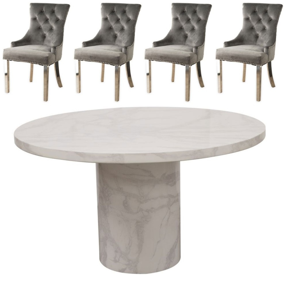 Vida Living Carra 130cm Round Dining Table with 4 Grey Velvet Knockerback Chairs - Bone White Marble