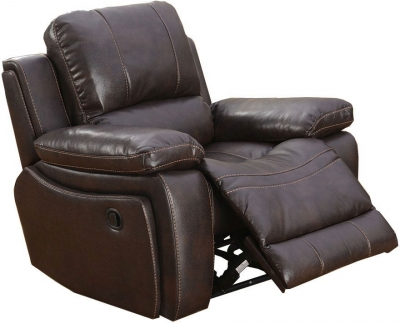 Vida Living Carter Pellaria Recliner Armchair - Brown Contrast Stitching