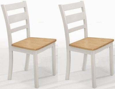 Vida Living Robin Dining Chair (Pair) - Oak and Grey Painted
