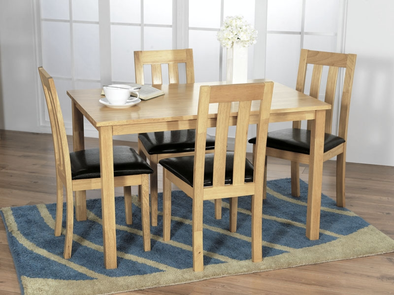 Vida Living Annecy Oak Dining Set with 4 Dining Chairs