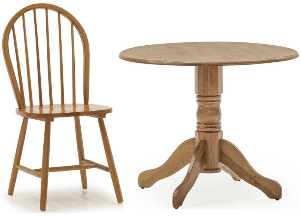 Vida Living Brecon Honey Dining Set - 52cm-90cm Round Drop Leaf with 4 Chairs