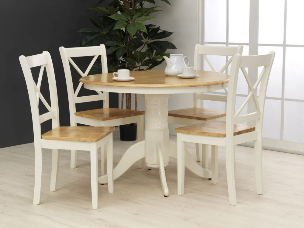 Vida Living Calais Painted Dining Set - Round with 4 Dining Chairs