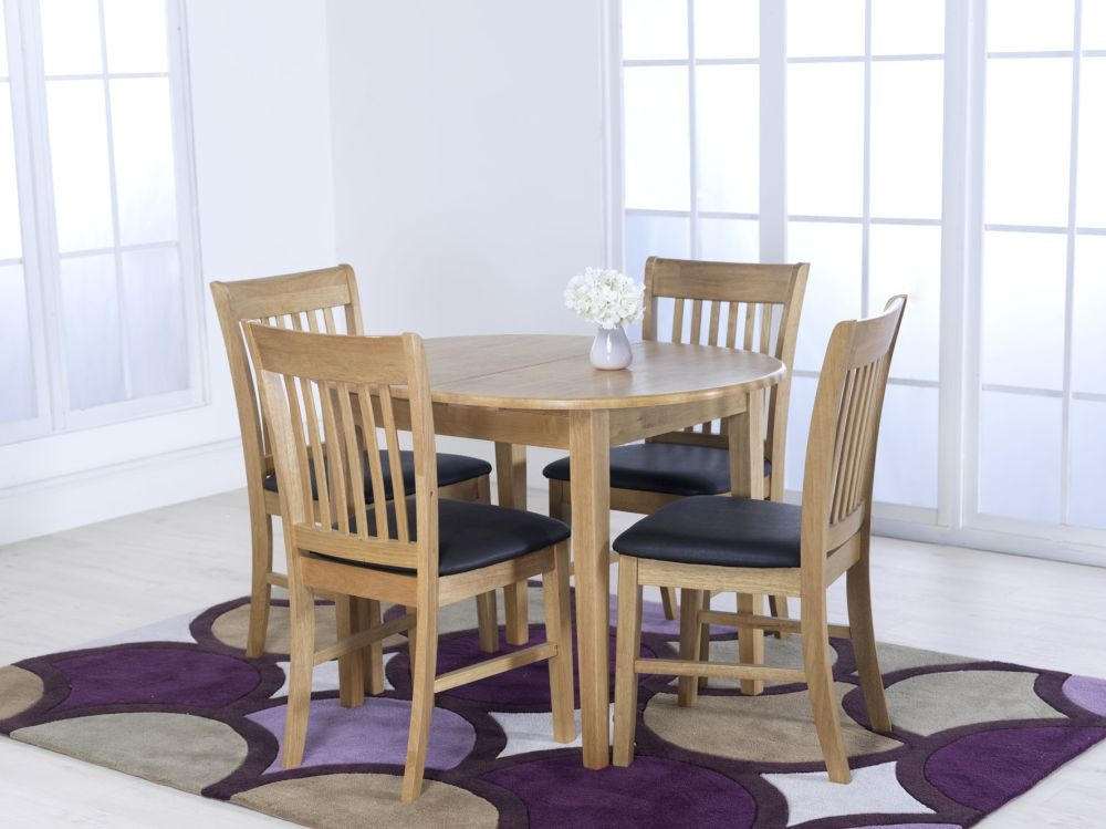 Vida Living Cleo Oak Oval Extending Dining Set with 4 Brown Faux Leather Chairs