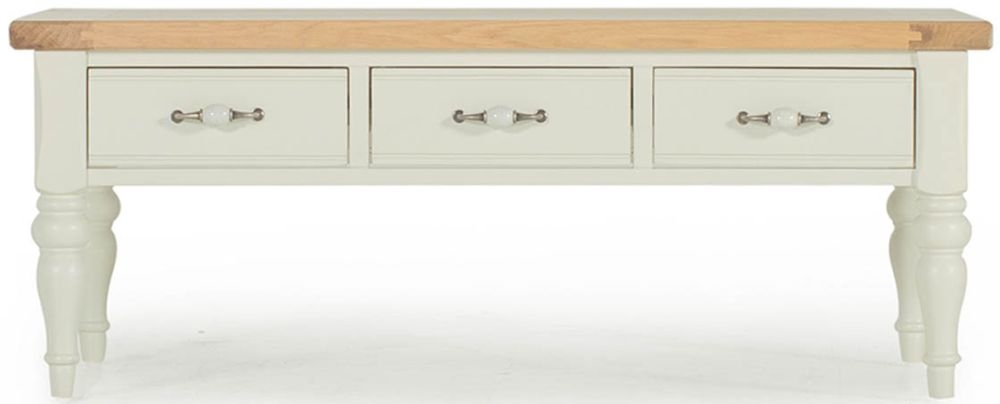 Vida Living Chalk Oak Coffee Table with 2 Sided Drawer