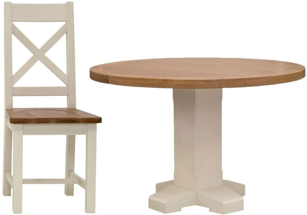 Vida Living Chaumont Ivory Dining Set - Round Pedestal with 4 Dining Chairs