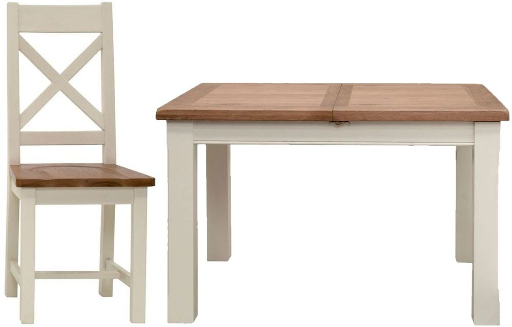 Vida Living Chaumont Ivory Dining Set - Small Extending with 4 Dining Chairs