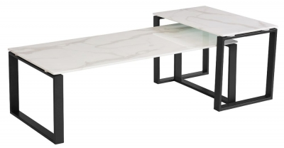 Vida Living Circe White Marble Effect Coffee Table Set