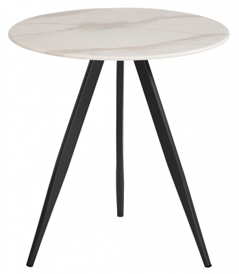 Vida Living Circe White Marble Effect Lamp Table