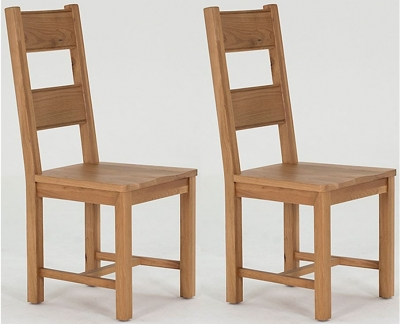 Clearance Vida Living Breeze Oak Dining Chair - Solid Seat (Pair) - W90