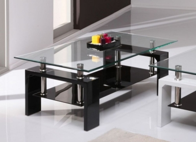 Clearance Vida Living Calico Glass Top Black Coffee Table - S69