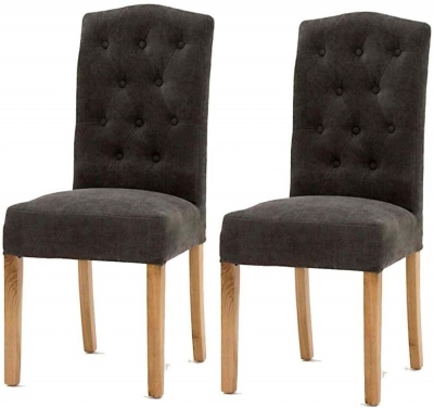 Clearance Vida Living Emerson Grey Dining Chair with Oak Legs (Pair) - J8