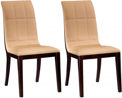 Clearance Vida Living Filippo Faux Leather Dining Chair - Beige (Pair) - J10