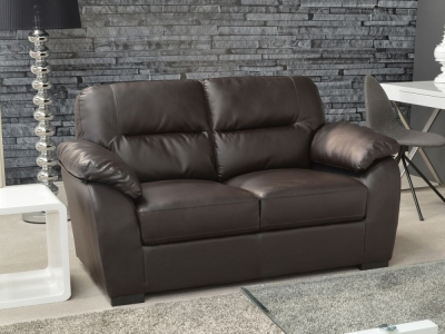 Clearance Vida Living Novara 2 Seater Leather Fixed Sofa - Brown