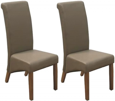 Clearance Vida Living Torino Faux Leather Dining Chair - Taupe with Oak Leg (Pair)