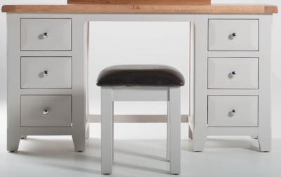 Vida Living Clemence Grey Painted Dressing Table and Stool Set