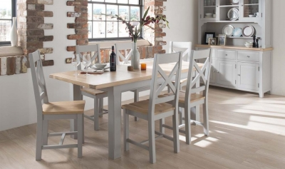 Vida Living Clemence Grey Painted Rectangular Extending Dining Set with 6 Chairs - 180cm-230cm
