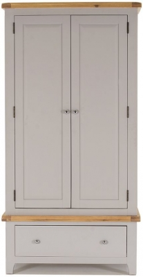 Vida Living Clemence Grey Painted Wardrobe - 2 Door 1 Drawer