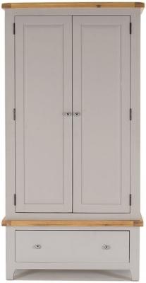 Vida Living Clemence Grey Painted Wardrobe - 2 Door 1 Drawer